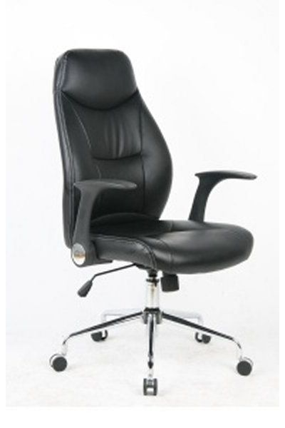 Office chair. PU seat and back, chrome base. Available in black. #Leather #Chair #OfficeChair