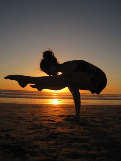 beautiful yoga pose, beach sunset, silhouette, firefly