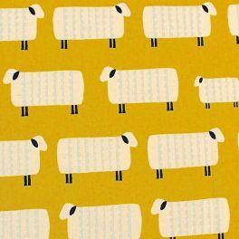 Tissu en coton à motif de moutons sur fond jaune safran