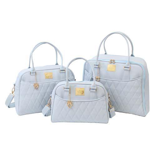 Conjunto Mala Maternidade, Bolsa e Frasqueira Clássica Gold Azul - Just Baby