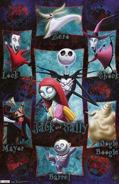 Nightmare Before Christmas Movie Cast Poster 22x34 | Jack skellington