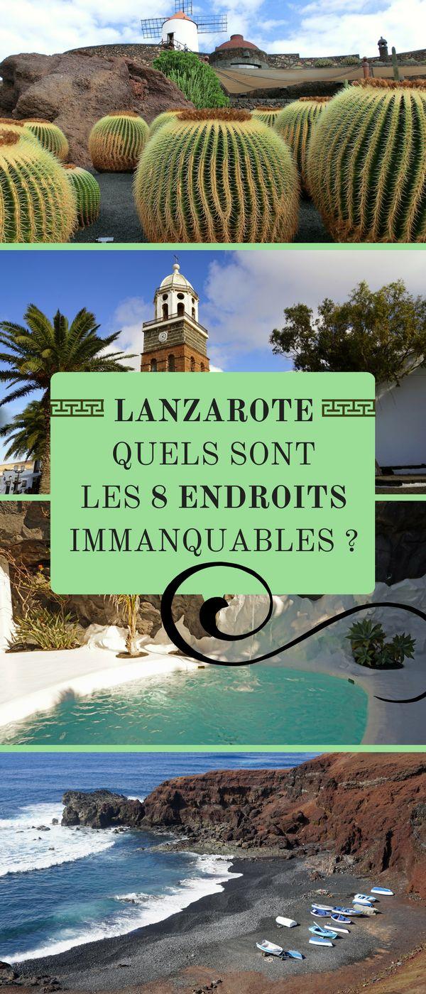 """Lanzarote, une des 7 îles de l'archipel des Canaries, se distingue de ses consœurs par ses paysages uniques, volcaniques, lunaires, aux teintes noires, brunes,  ocres, rouges... Voici les 8 sites à ne pas manquer dans ce """"désert"""" pourtant si hospitalier et fascinant. #Espagne #Canaries #Lanzarote"""