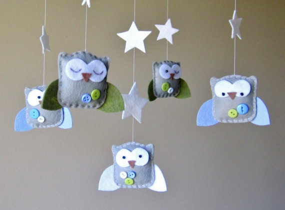 Baby Crib Mobile Baby Mobile Owl Mobile Neutral by LoveFeltXoXo, $90.00