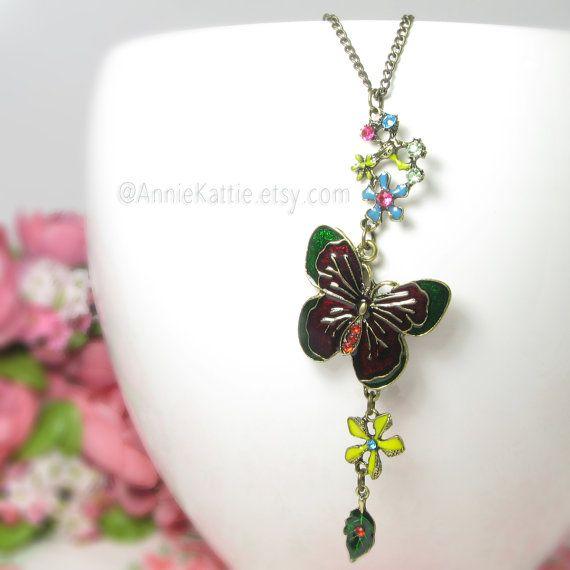 Butterfly necklace Flower necklace Garden necklace by AnnieKattie