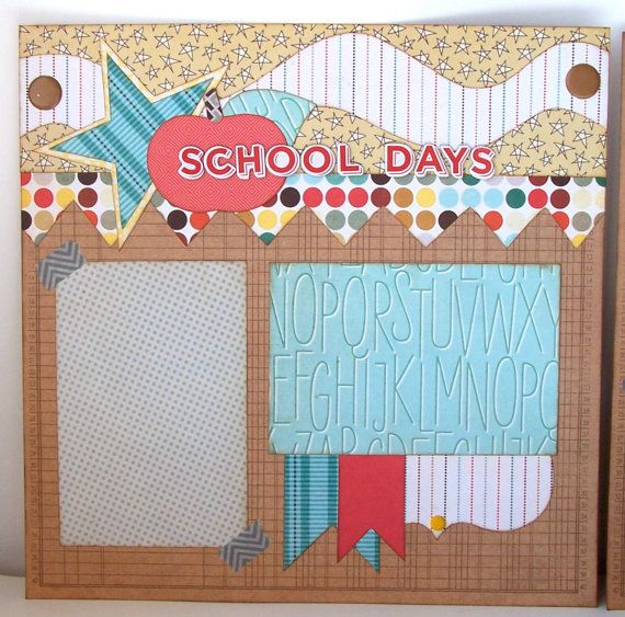 School Days Premade 2 Page 12x12 Scrapbook Layout