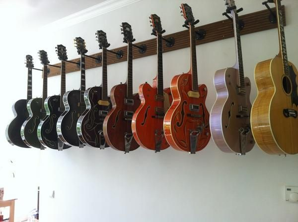 This isn't my classroom - but it is how I have guitars stored in my room. It works really well and you can quickly see when one is missing.