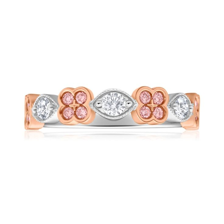 Cute alternative wedding ring with Pink and White Diamonds in 18ct Gold
