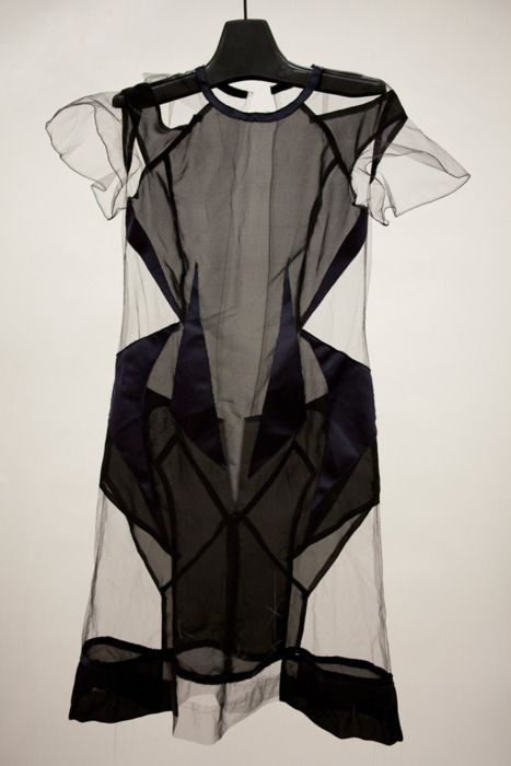 Transparency... structured sheer panel dress with varying degrees of opacity - fashion details