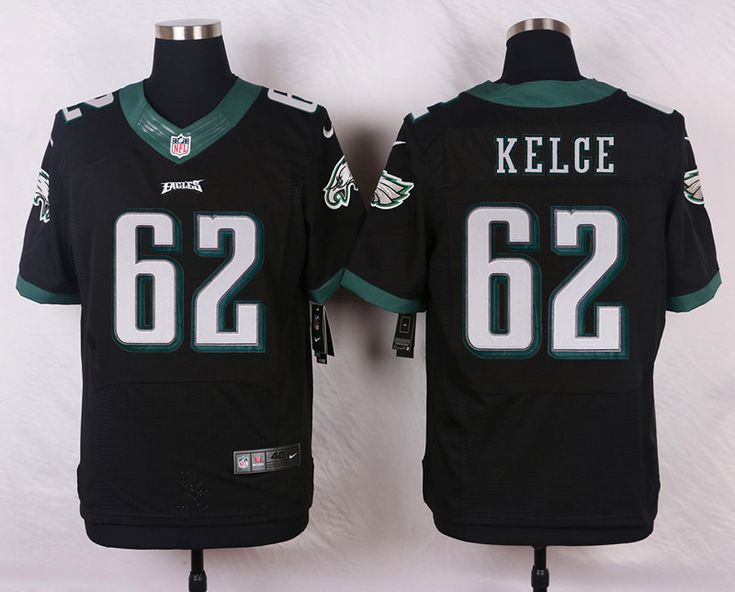 #62 Mens Jason Kelce Elite Alternate Jersey - Black Nike NFL Philadelphia Eagles