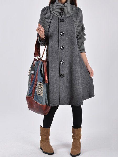 295ed2cefbd Shop Women s Tops - Gray Turtleneck Casual A-line Outerwear online.  Discover unique designers fashion at JustFashionNow.com.