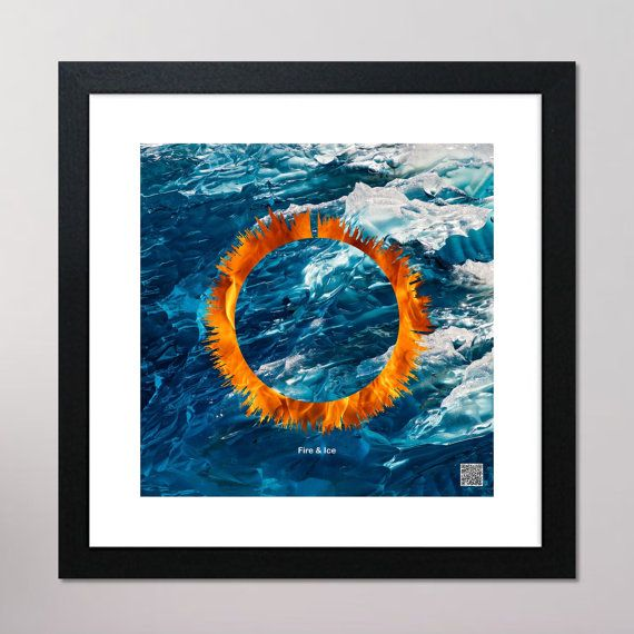 Fire & Ice Circular Sound Wave Framed Print With Contactless Playback Option 440mm x 440mm