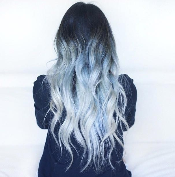 ICE BLUE OMBRE: We're kinda obsessed with this hair color! The color combination is fit for a snow queen. This complex shade of dark hair with hints of dark grey, light grey and light blue is truly one of a kind.