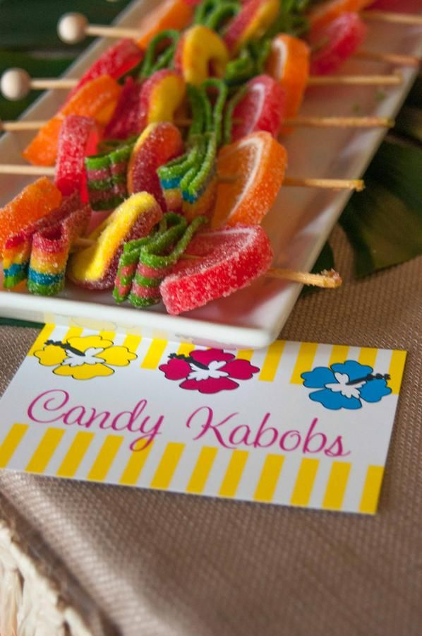 Candy kabobs, good idea for candy buffet