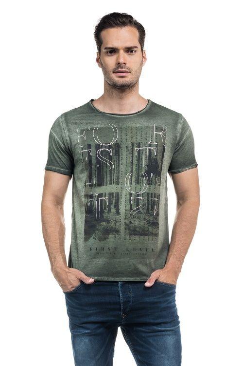 T-shirt 1St Level slim fit com estampado, lavagem especial e decote redondo