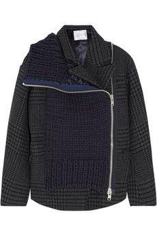 Sacai Wool blend-paneled tweed jacket