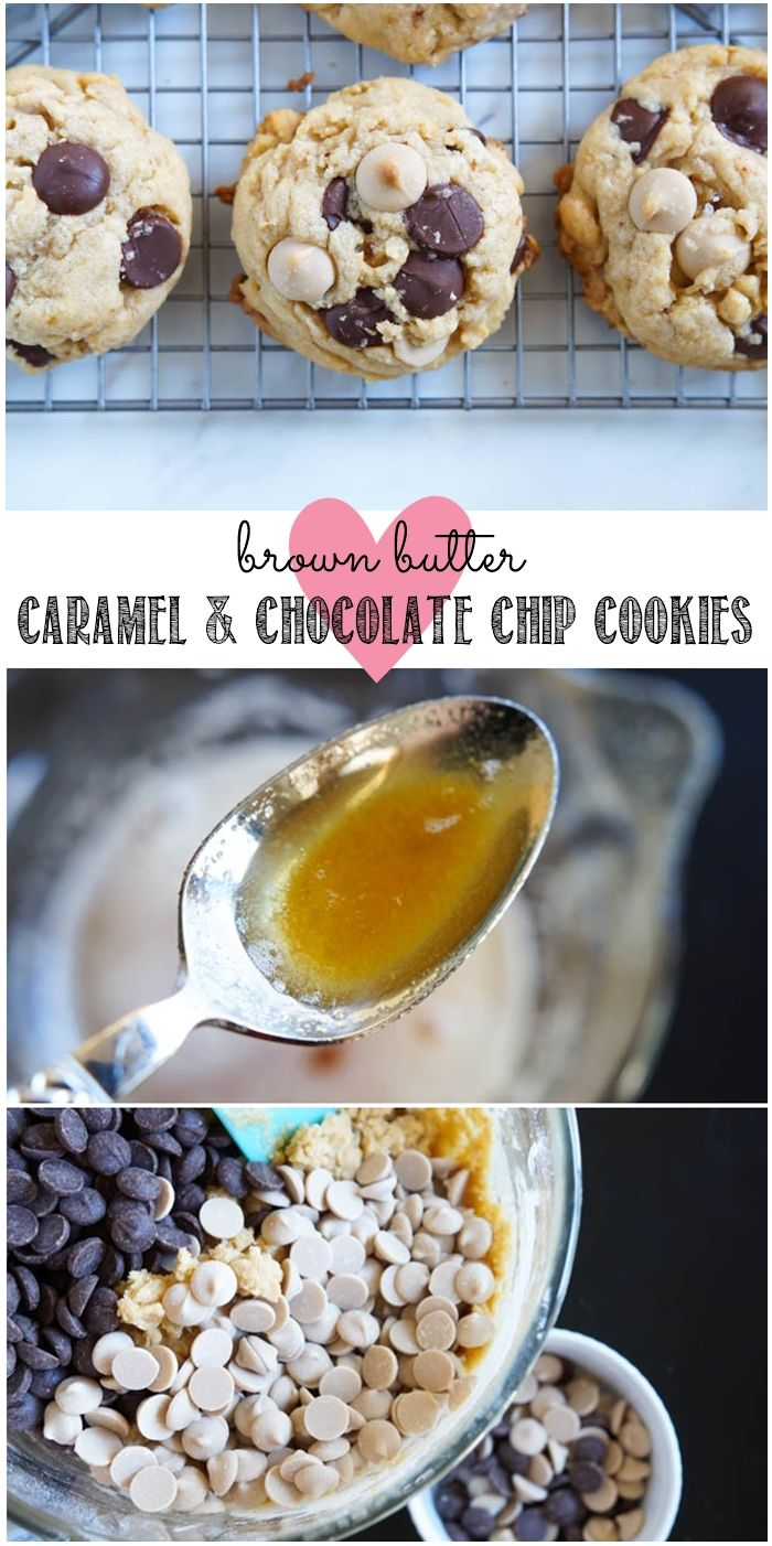 Brown Butter Caramel and Chocolate Chip Cookies from @bakeat350
