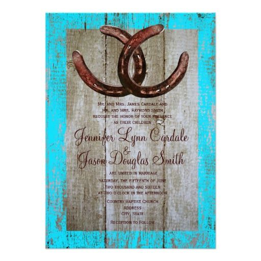 Rustic Teal Barn Wood Horseshoe Wedding Invitation Personalized Invite