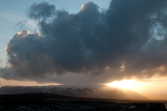 Iceland, winter sunset.