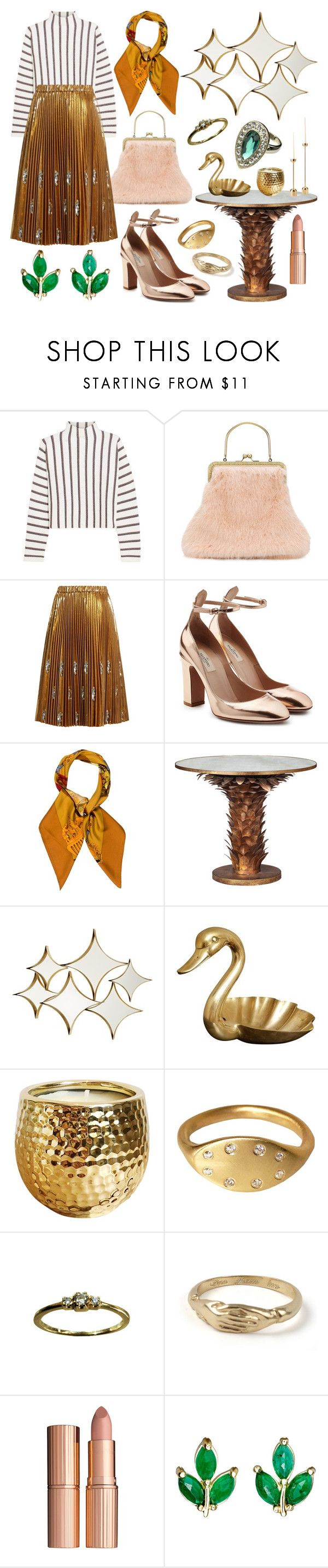 """All That Glitters"" by heybigtrender on Polyvore featuring Maje, Shrimps, N°21, Valentino, Hermès, Allegra, Universal Lighting and Decor, Charlotte Tilbury, Finn and Monsoon"