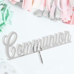 'Communion' Mirror Silver Cake Topper