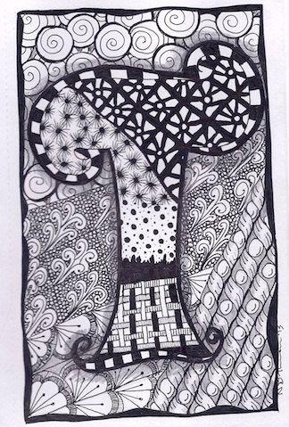 Zentangle, Letter T, Zebra Letters, name, bunting, alphabet. £3.50, via Etsy.