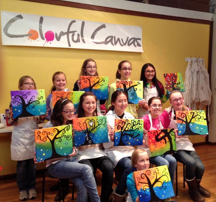 12 year old girls enjoyed this swirly tree painting for a friday