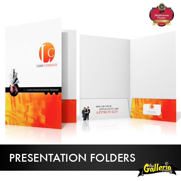 Improve your sales performance with professional presentation folder. Let us design a custom presentation folder for your company and watch your staff present your company with confidence.