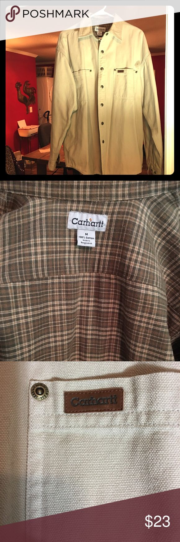 Men's Carhart Heavyweight shirt/jacket SZ Medium Plaid flannel type interior and beige exterior with snap buttons. Very warm and like new. It just doesn't often get cold enough in Alabama to wear. Men's Medium   A bit oversized for a Medium.  Carhartt Shirts Casual Button Down Shirts
