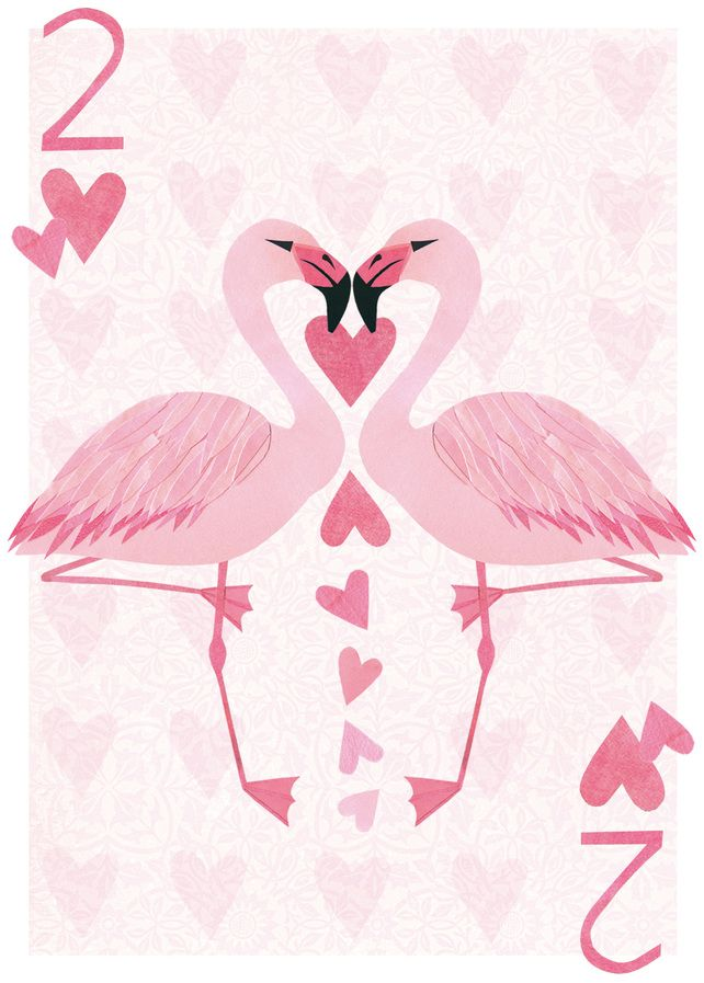 2 flamingos...s of hearts - could be a cool project to have students re-design playing cards