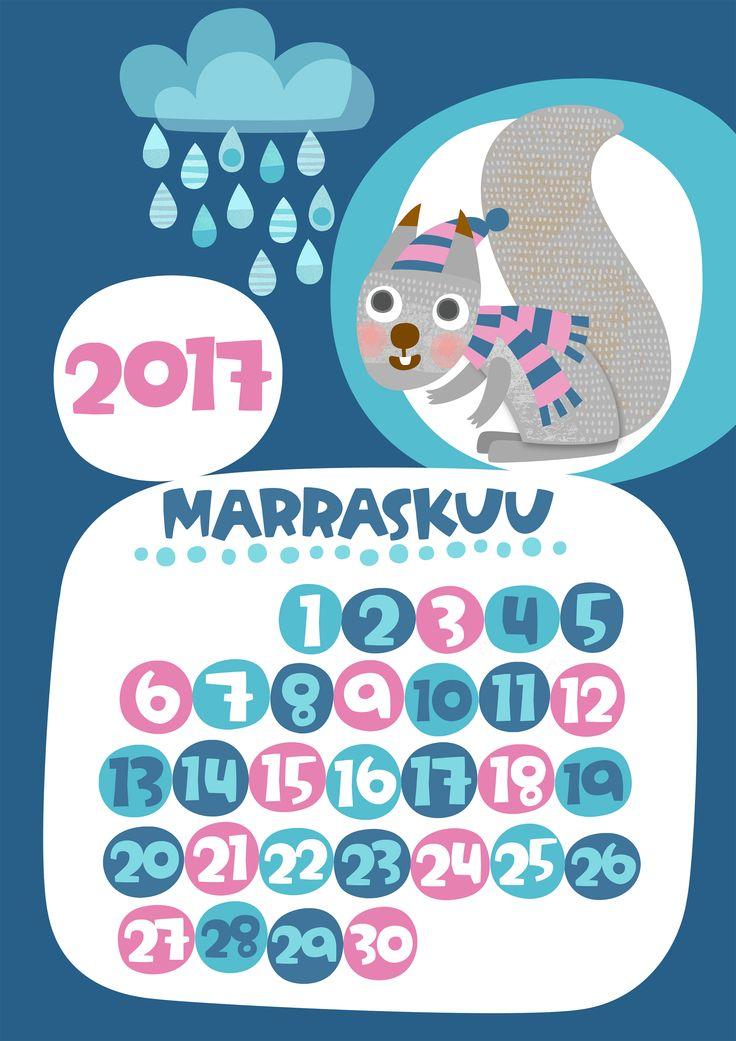 Marraskuu 2017 | free | printable | pattern | lasten | lapset | askartelu | kalenteri | vuosikalenteri | seinäkalenteri | tulostettava | paperi | koti | sisustus | kids | children | crafts | home | paper | calendar | Pikku Kakkonen