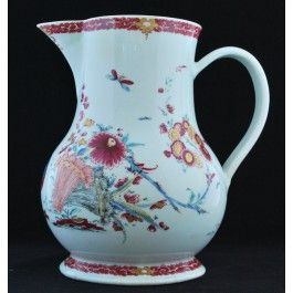 Large Jug, decorated with Two Cranes in the Kakiemon palette. Bow Porcelain Factory C1756