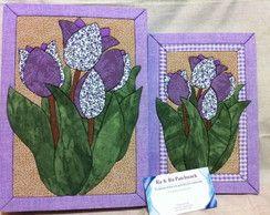 Conjunto caixa e caderno tulipas roxas