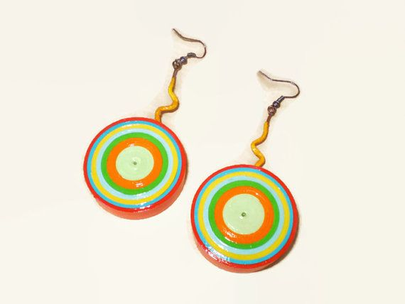 Colorful Target Dangle Earrings Paper Jewelry by LeftysHandcrafts