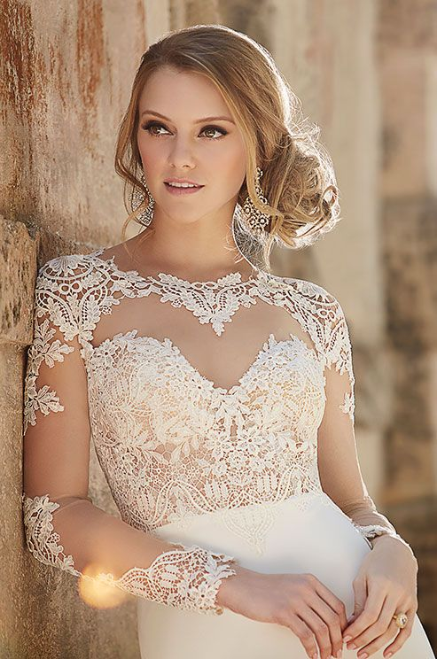Such a stunning illusion lace wedding dress by Martina Liana, Fall 2015
