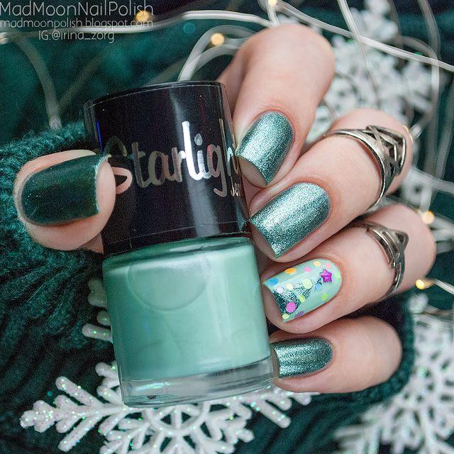 Festive nails Новогодний маникюр с лаками Jerden Starlight 20 и 25 - Mad Moon's Blog