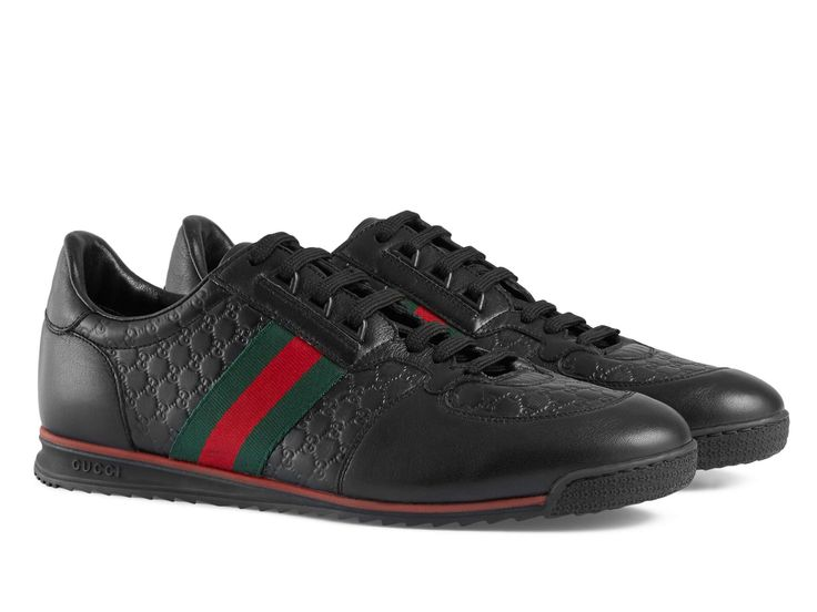 gucci shoes black and white. gucci men\u0027s low top sneakers in black leather - italian boutique \u20ac263 shoes and white u
