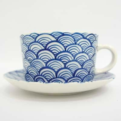 White and Blue Vietnamese Tea Cup and Saucer by Oxfam Shop