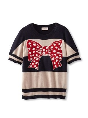 56% OFF Monnalisa Girl's Stripe Sweater with Bow (Blue Mud)