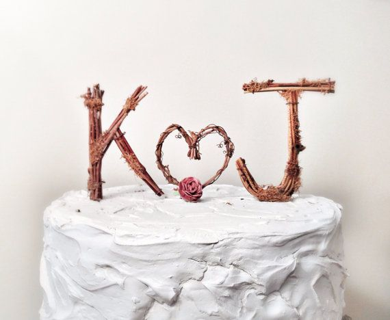 Rustic Monogram Wedding Cake Topper  by TheOriginalTwig on Etsy, $59.00