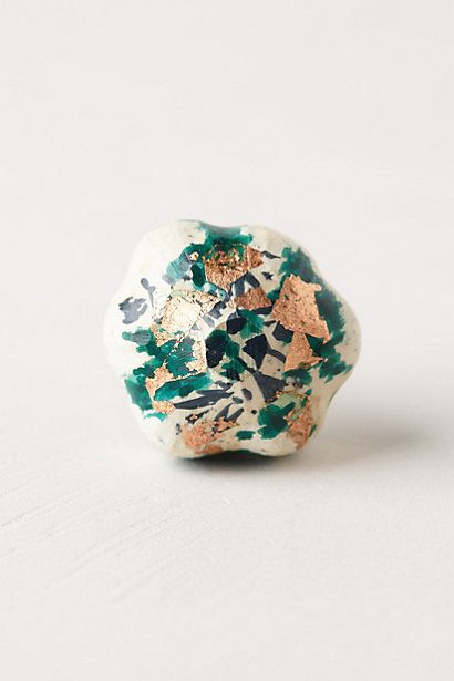 Gold-Flecked Blossom Knob #anthropologie