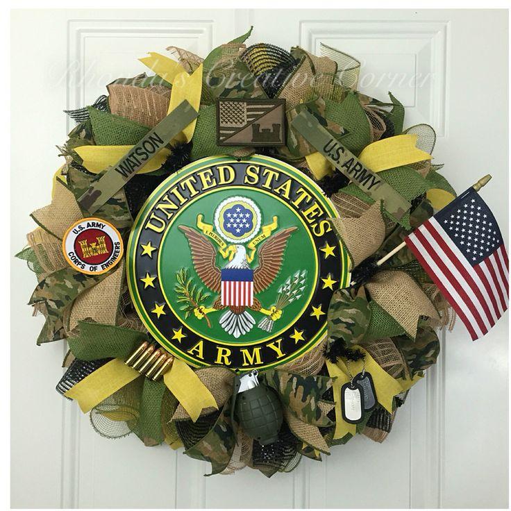 Army Deco Mesh Wreath. Rhonda's Creative Corner