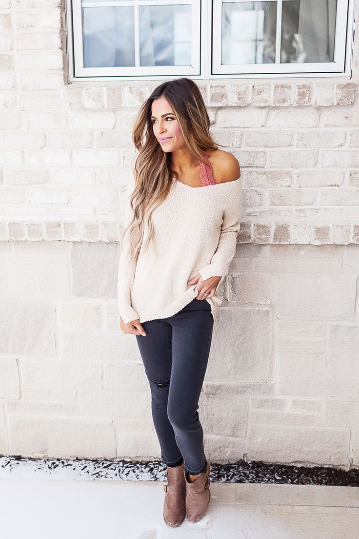 Oatmeal Patterned Knit Sweater - Dottie Couture Boutique