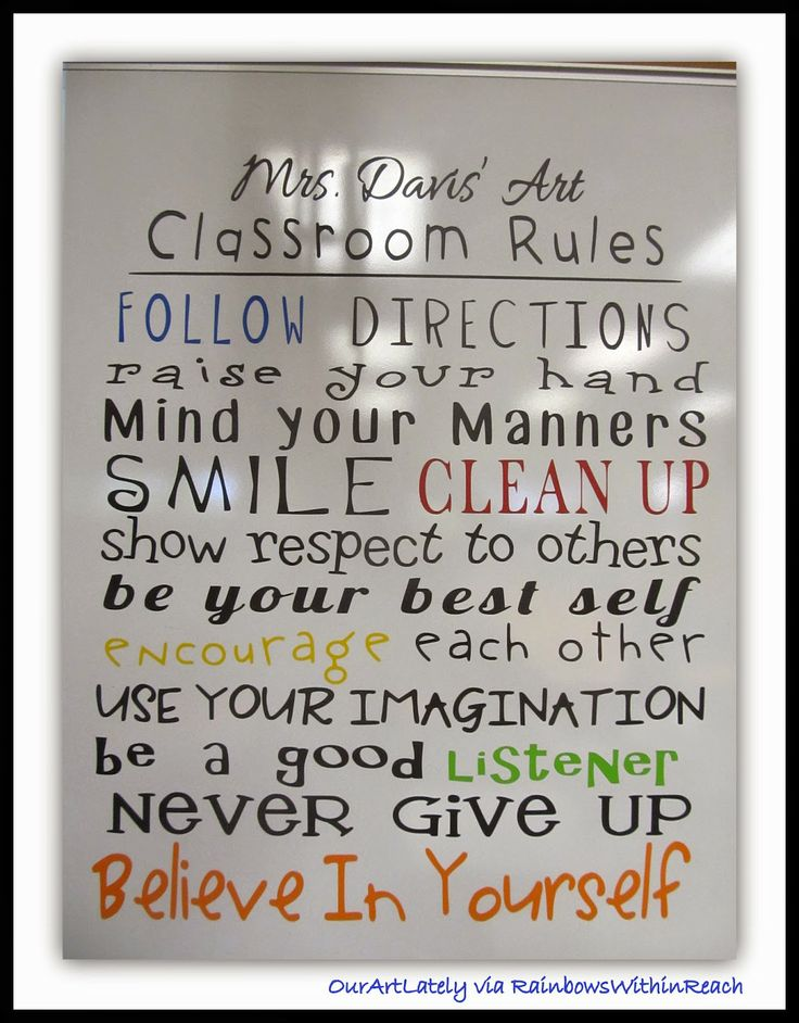 "Art Classroom ""Rules"" from OurArtLately via RainbowsWithinReach #arted (with additional visuals in blog post)"
