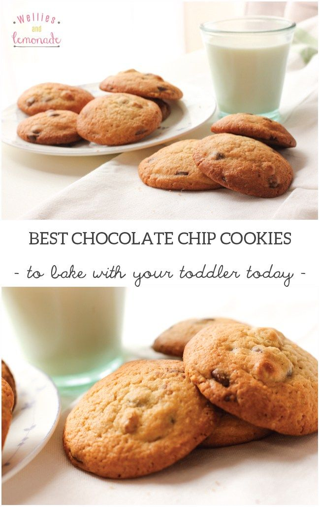 have fun in the kitchen with your toddler while baking these delicious chocolate chip cookies. Serve with milk for a perfect combination. Find them over at http://www.welliesandlemonade.com