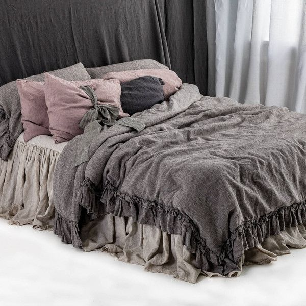 Linen Bedding New Arrivals From 2018 Rustic Style Linen Duvet Cover... ($190) ❤ liked on Polyvore featuring home, bed & bath, bedding, duvet covers, home & living, white, king bed sets, queen bed sets, queen bedding and california king duvet