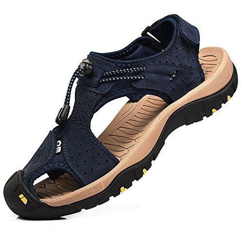 Oferta: 52€ Dto: -50%. Comprar Ofertas de Rismart Hombre Punta Cerrado Gancho y Bucle Al aire libre Excursionismo Cuero Zapatos Sandalias y chanclas SN1505(Azul Marino barato. ¡Mira las ofertas!