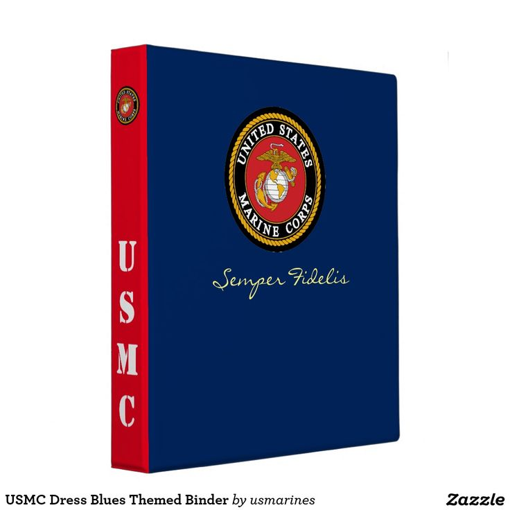 USMC Dress Blues Themed 3 Ring Binder, Use To Keep Track