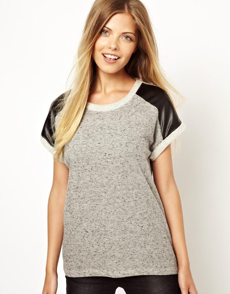 Vero Moda Leather Look Insert Sweat - Love the adorable leather-look inserts! $37 at ASOS