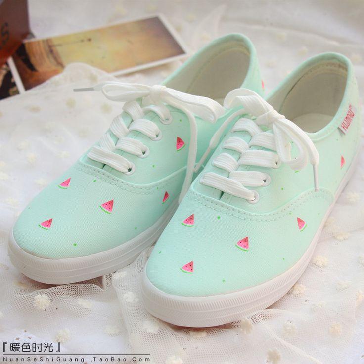 Aliexpress.com: Comprar Casual shoePink color blanco pequeño menta fresca zapatos pintados a mano sandía pequeña zapatos de lona suave de zapatos de ratón confiables proveedores de  Angel City.