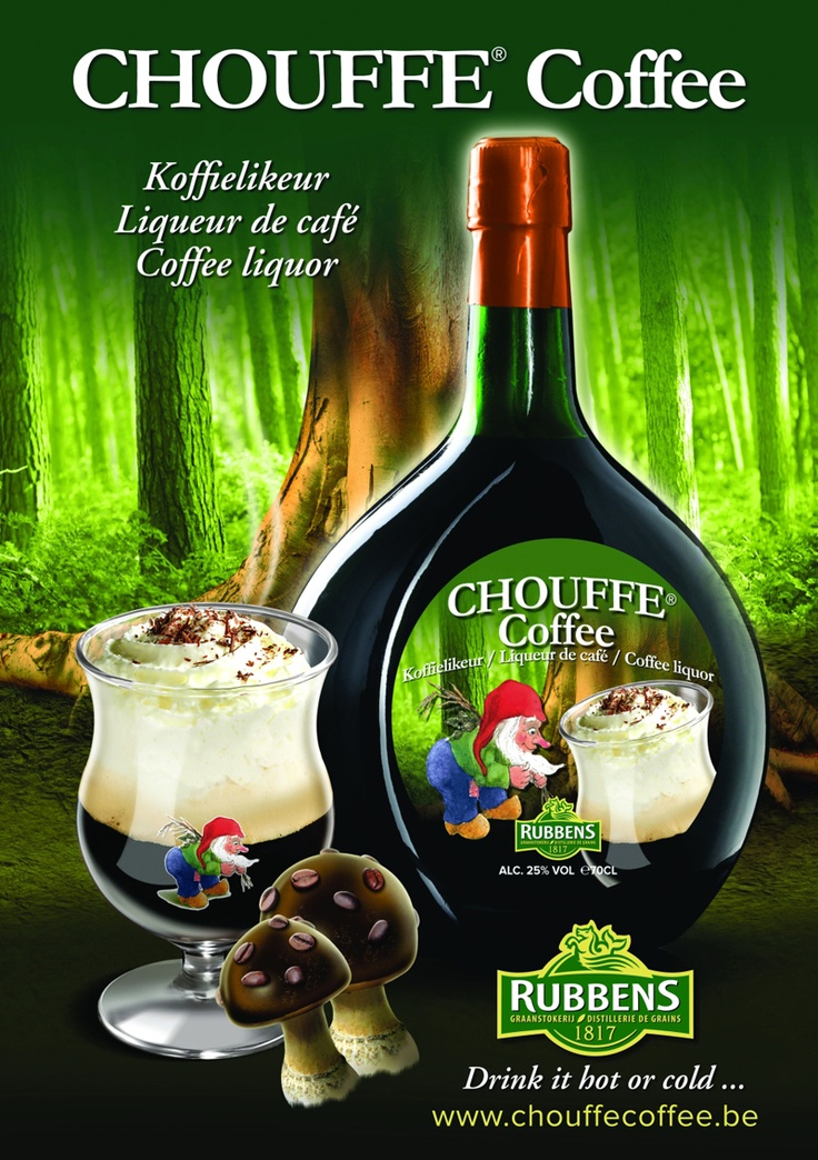 Chouffe Coffee is a liqueur with a base of Esprit d'Achouffe (beer brandy) obtained through the distillation of Chouffe. Made with the addition of grain alcohol and 100% natural coffee extracts, cacao and Juniper, and a strong dash of McChouffe. (Belgium, 25% ABV.)